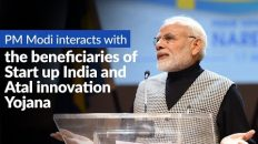 PM Modi interacts with the beneficiaries of Start up India and Atal innovation Yojana, via VC
