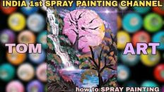 Pink Moon Nature PAINTING / INDIA 1st SPRAY PAINTING by TOM ART